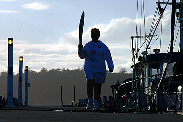 Brenda Jackson carries the baton along the jetty